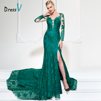 DressV long sleeves appliques evening dress sexy v neck split front button lace court train long women party prom evening dress