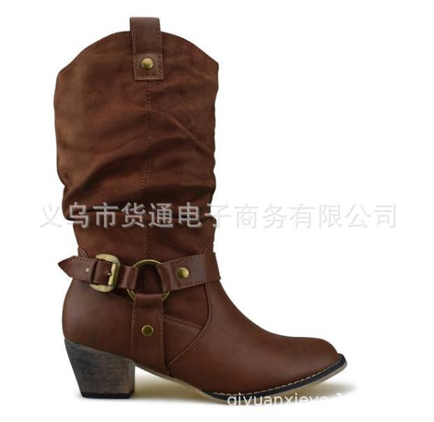 Moto Talons 35 Boucle Débarrasser Taille Chaussures Flock Grande Mode Black Bottes Haute Western brown Nubuck Femmes 43 Longues De qX70ff
