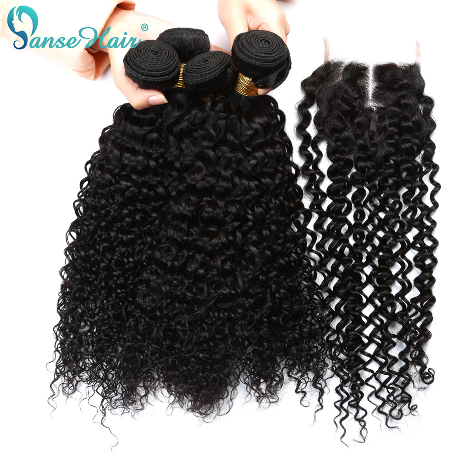 Panse Hair Vietnamese Kinky Curly Hair Weaving 3 Bundles Weft With 1 PC Closure 4X4 Customized