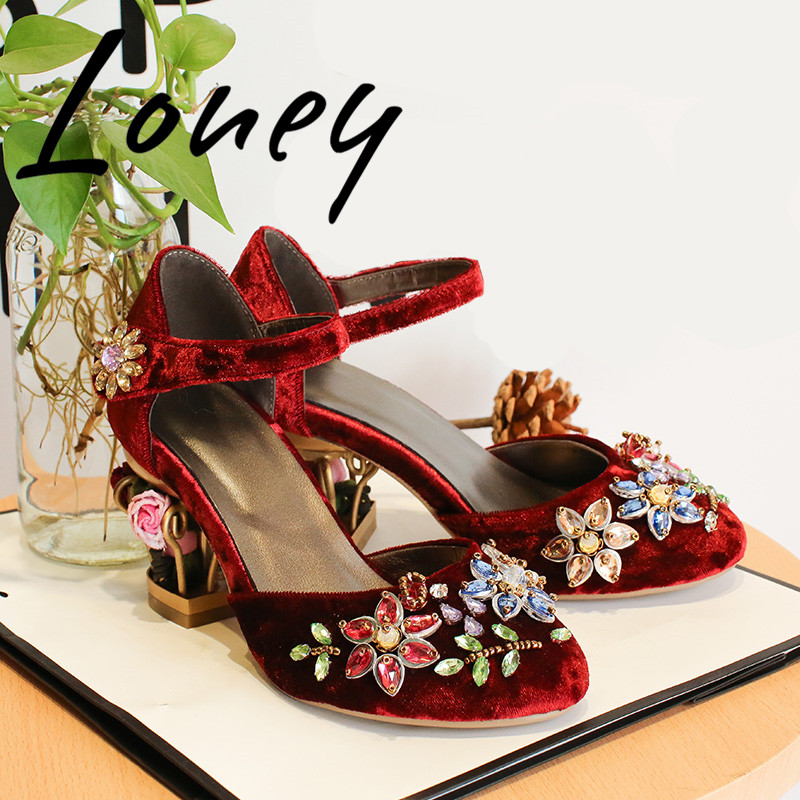 Loney New Spring Velvet Crystal Jewel Women Pumps Round Toe Floral Caged Heel Pumps Mary Jeans Women SummerLoney New Spring Velvet Crystal Jewel Women Pumps Round Toe Floral Caged Heel Pumps Mary Jeans Women Summer