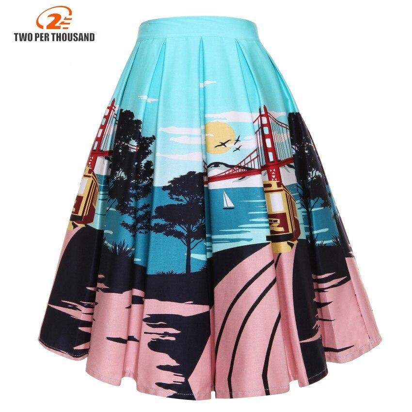 60s Black Skirt Women High Waist 4XL Plus Size Floral Print Ladies Skirts Skater 50s Swing Vintage Skirts Female Big Size 3XL