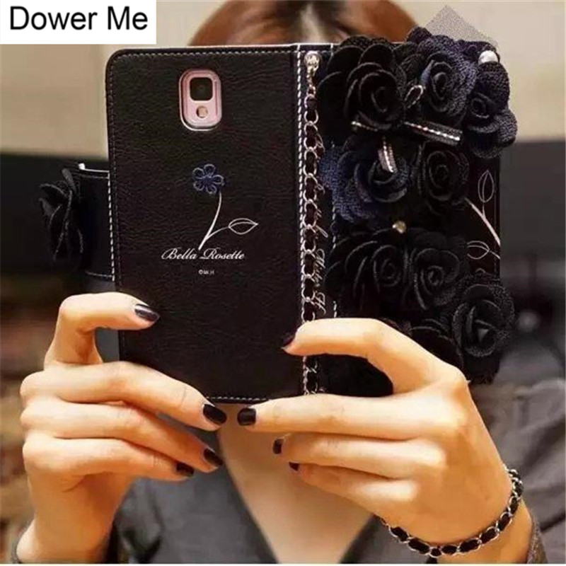 Funda de cuero con billetera rosada Rose Flower de tela negra para iPhone 11 Pro XS Max XR X 8 7 6S Plus Samsung Note 10 9 8 S10 / 9/8 Plus