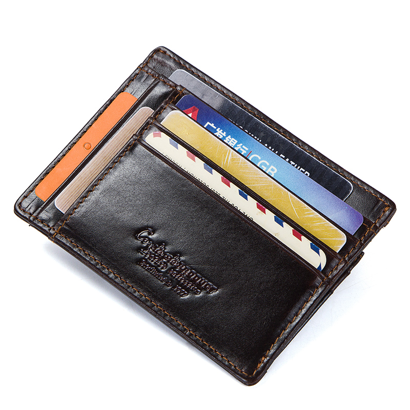 CONTACT'S crazy horse cowhide leather RFID men card wallet mini card holder with coin pocket men's small thin walet slim wallets 1