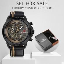 NAVIFORCE relojes de cuarzo para hombre, reloj de pulsera deportivo de cuero, resistente al agua, con caja