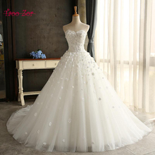 TaooZor High Quality New Fashion Lace 3 D Flowers Ivory font b Wedding b font Dresses