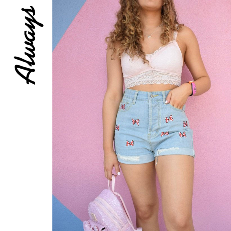 Alwayss High Waist Ripped Mickey Mouse Minnie Bow Embroidery Jean Shorts For Women Summer Hole Jeans
