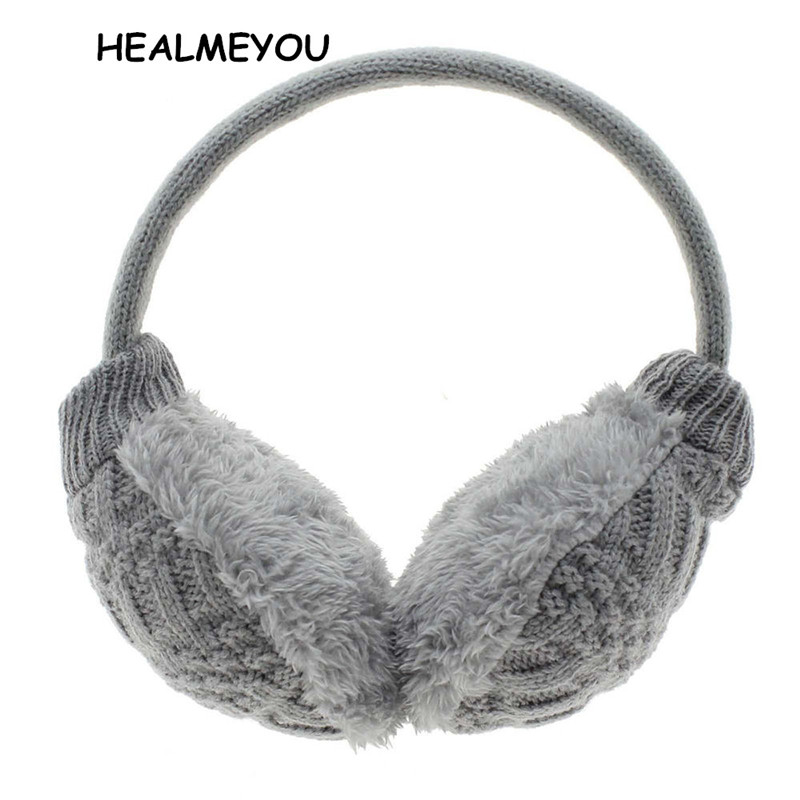 Fashion Winter Earmuffs Women's Warm Unisex Ear Cover Knitted Plush Earwarmers Ear Warmers Women