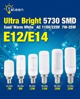 TSLEEN Free Shipping 10PCS E12 110V LED Lamp 5730 SMD LED Bulb Corn 24 36 48