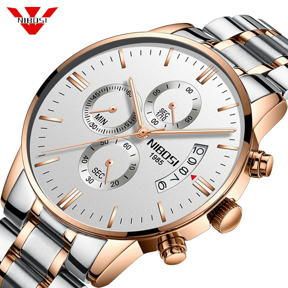 NIBOSI  Luxury Top Brand Watches Fashion Rose Gold Elegant Men Watch Waterproof Relogio Masculino Best Quartz Wristwatch For Men
