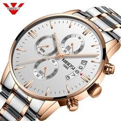 NIBOSI de lujo marca relojes de oro rosa de moda los Hombres Elegantes reloj resistente al agua reloj Masculino mejor cuarzo reloj de pulsera para hombres