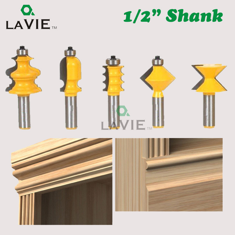 LA VIE 5pcs 1/2 Inch Shank Closet Door Top Router Bits Set Wood Carving Knife Carbide Alloy Graver Convex Milling Bits MC03052 free shipping pro grade 2 piece tungsten carbide 1 2 inch router bits set