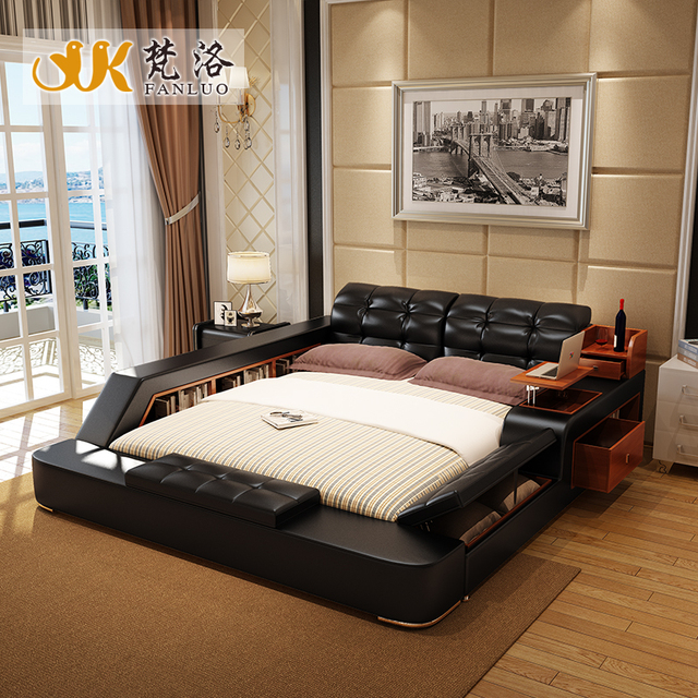 Modern Leather Queen Size Storage Bed Frame With Side Storage Cabinets  Stool No Mattress Bedroom Furniture