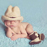 Cowboy Costume Newborn Photo Props Crochet Hat Boot Clothing Set Winter Warm Knit Clothes Infant Baby
