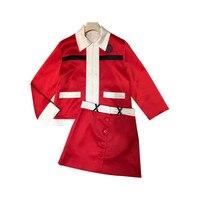 Красный костюм юбка женская подиумная 2019 Дизайнерская Женская двухсекционная куртка юбочный костюм топы