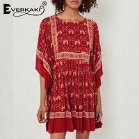 Everkaki Red Boho Dress Women Hippie Vestidos Batwing Floral Pleated Gypsy  Tunic Half Sleeve Ruffles Bohemian 58669356c874