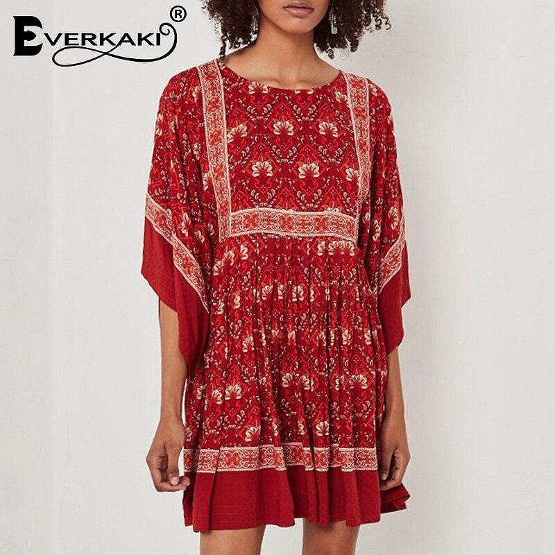 Everkaki Red Boho Dress Women Hippie Vestidos Batwing Floral Pleated Gypsy Tunic Half Sleeve Ruffles Bohemian Summer Dress 2018