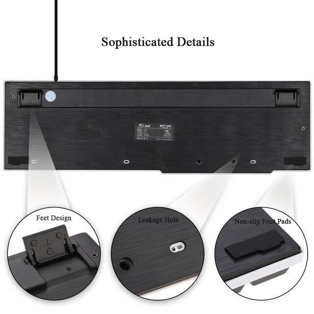 Ice WolfGaming Keyboard LED Backlit Keycaps Multimedia Professional Esport Gaming Qwerty Keyboard USB Wired 104 Keys Ergonomic 2