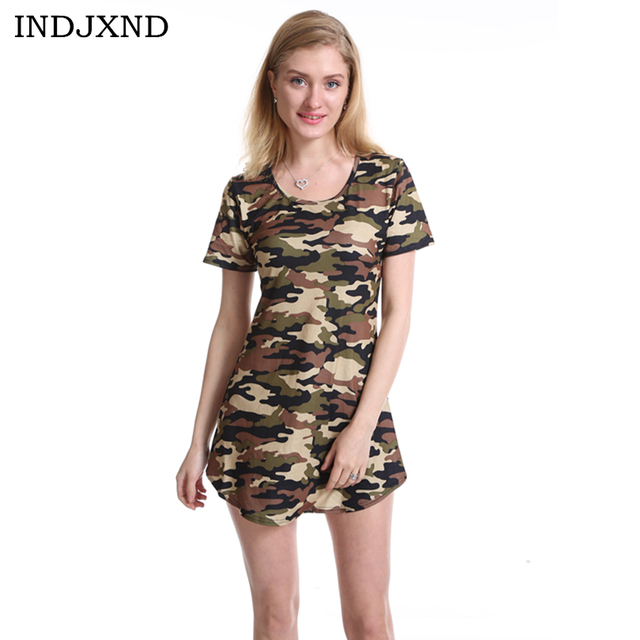 7ec0bd1eacf1 INDJXND 2018 Fashion Women Summer Dress Short Sleeve Sexy Mini Dresses  Green Camouflage Print Midi Dress Woman Slim Plus Size