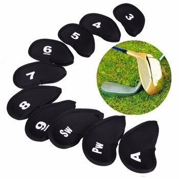 10 Uds fundas de cabeza para Club de Golf Iron Putter, funda protectora, juego de fundas para cabeza de neopreno negro dorado, bolsa protectora para Golf Sports