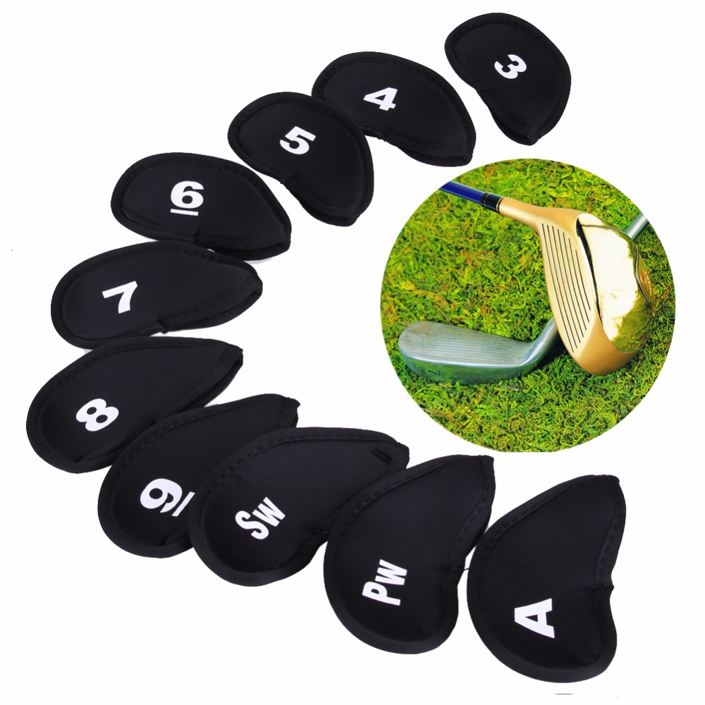 10pcs Golf Club Head Covers Iron Putter Protective Case HeadCovers Set Neoprene Black Gold Head Protector Bag For Golf Sports