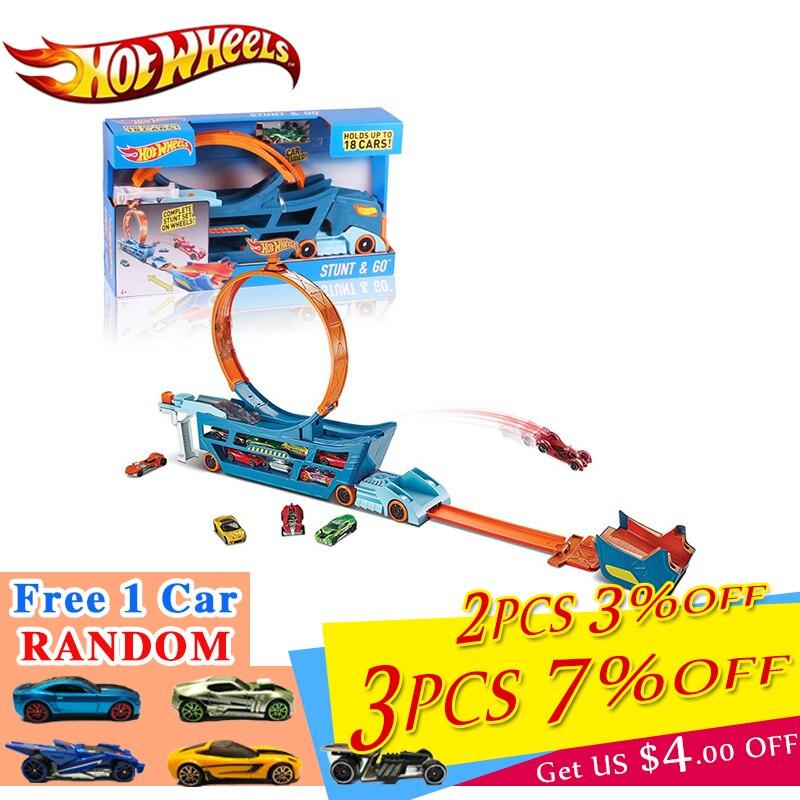 Original Hot Wheels Car Track Suit Multifunction Car Toy Automobile Truck Box Toy Model DWN56 Hotwheels