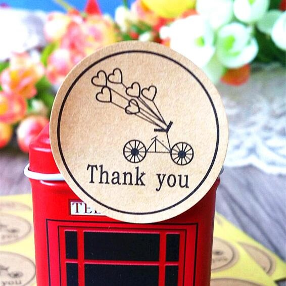 100pcs/lot  Round Kraft Paper Seal Sticker  Romantic Bicycle Heart Holiday Thank You Stickers Packaging Label Material Supplies