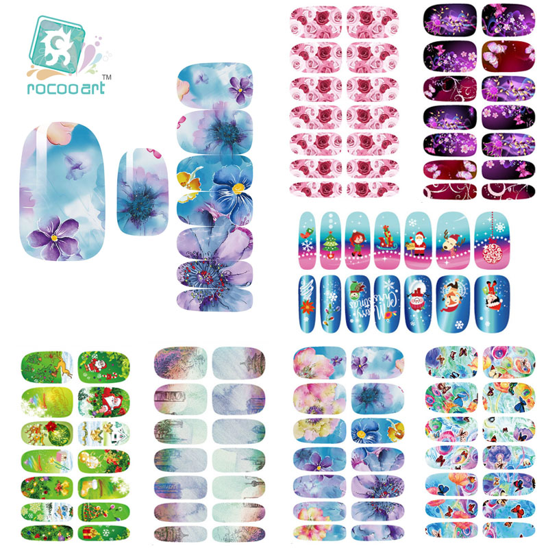 Rocooart Fashion ( Min. Order 0.7 USD ) K2 Multi Color Water Transfer Nail Art Sticker Chinese Ink Rose Flowers Christmas Nail Wraps Sticker Manicure Decor Decals Foils