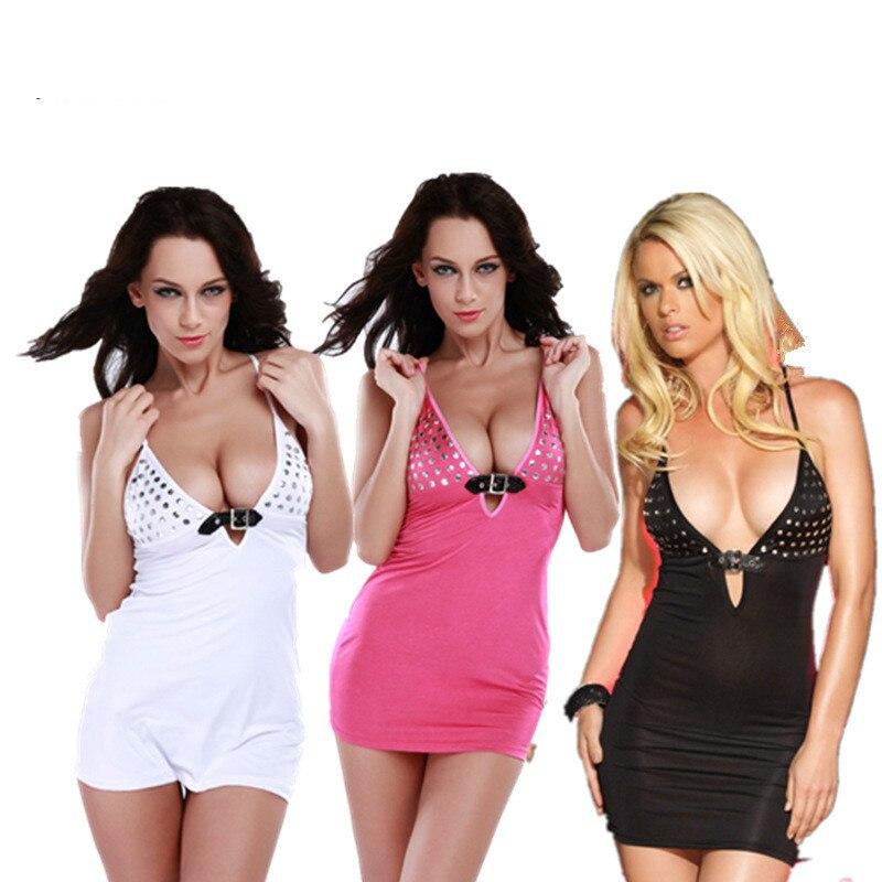 Sex Black White Rose Tight Rivet Bodycon Mini Slim Slip Silk Satin font b Dress b