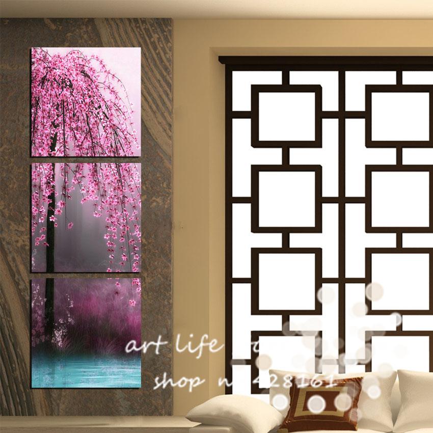 3 pieces unframed canvas wall art on canvas pictures painting Vertical tree  for wall for living