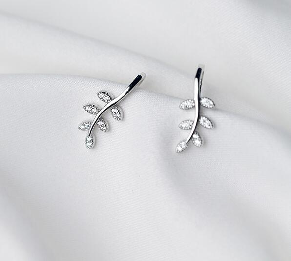 1pair 100% REAL. 925 Sterling Silver Fine Jewelry WHITE CZ Set Branch Leaf Clip Earrings (NO pierced) GTLE2137