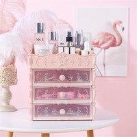 European Pink Cosmetics Plastic Storage Drawer Office Desktop Partition Multi layer Container Box Bathroom White Organizer Case