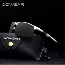 AOWEAR брендовые дизайнерские солнцезащитные очки без оправы, мужские спортивные солнцезащитные очки из алюминиево-магниевого сплава, мужские очки для вождения на открытом воздухе