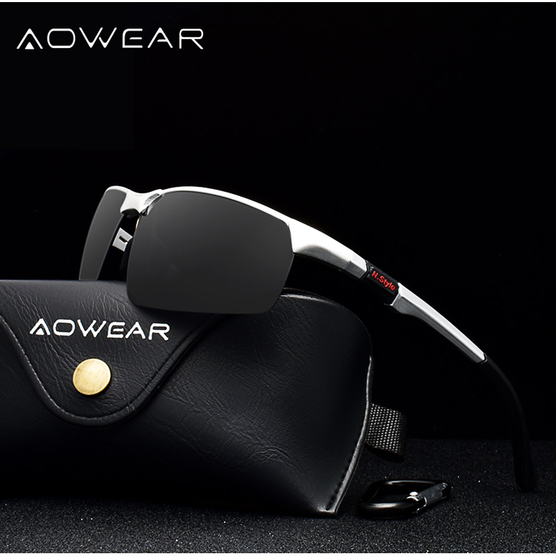 Купить AOWEAR брендовые дизайнерские солнцезащитные очки без оправы мужские  Porlarized Алюминий Магний спортивные солнцезащитные очки мужские уличные о. c61cc27d37b