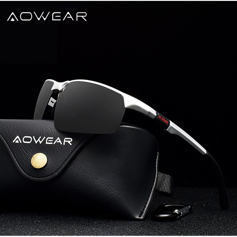 AOWEAR מותג מעצב ללא שפה משקפי שמש גברים Porlarized אלומיניום מגנזיום ספורט שמש משקפיים זכר חיצוני נהיגה משקפי gafas