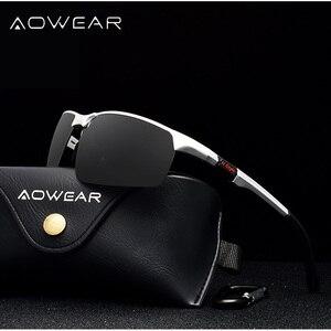 Image 2 - AOWEAR גברים של משקפי שמש ללא מסגרת גברים Porlarized באיכות גבוהה אלומיניום ספורט סגנון שמש משקפיים זכר חיצוני נהיגה משקפי Gafas