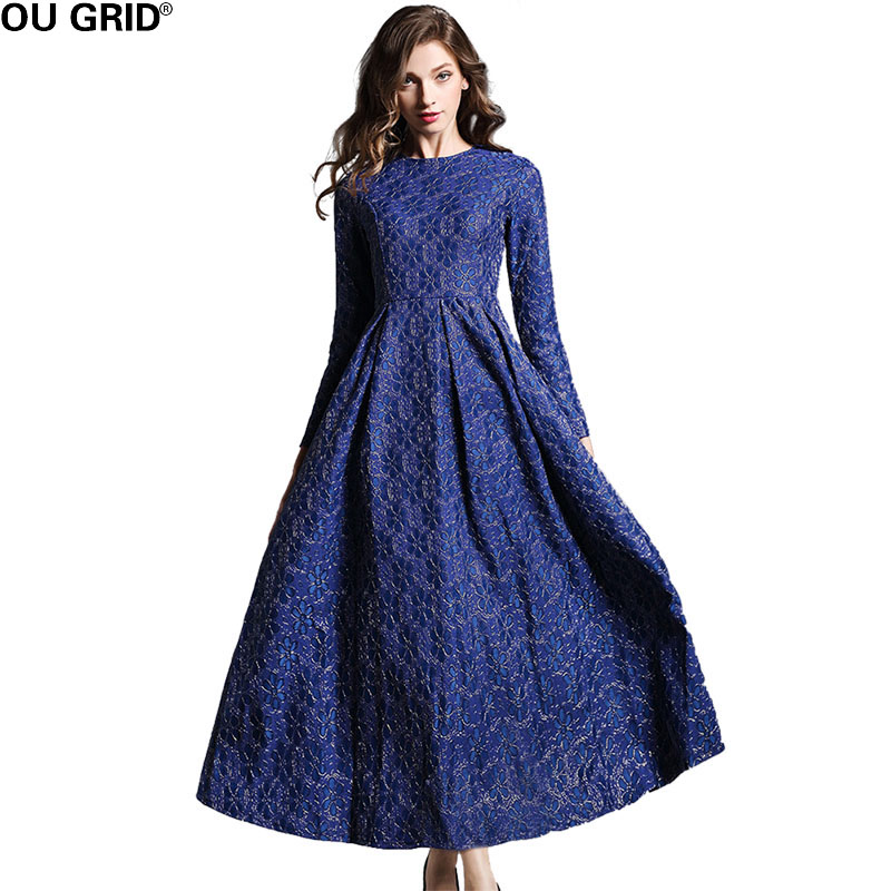 Spring Long Party Dress Women Formal Solid Flower Jacquard Slim Elegant Long Sleeve Fit and Flare