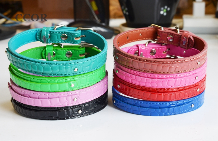 CCOR 50pcs 8 100mm 15X350mm Crocodile PU Leather Pet Dog Collar DIY Pet Name by using