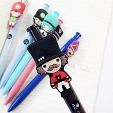 36 pçs/lote bonito kawaii londres soldado azul tinta gel caneta escrita assinar caneta papelaria escola escritório fornecimento por atacado