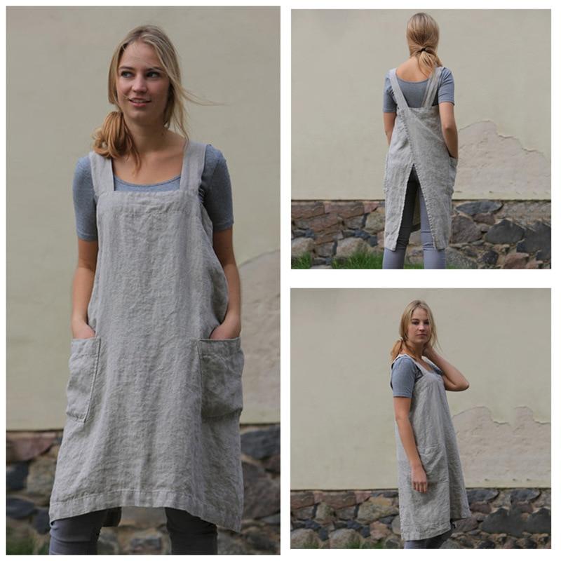 Las mujeres delantal cocina delantal breve nórdicos viento falda delantal de lino café tiendas y tiendas de flores delantales de trabajo para mujer