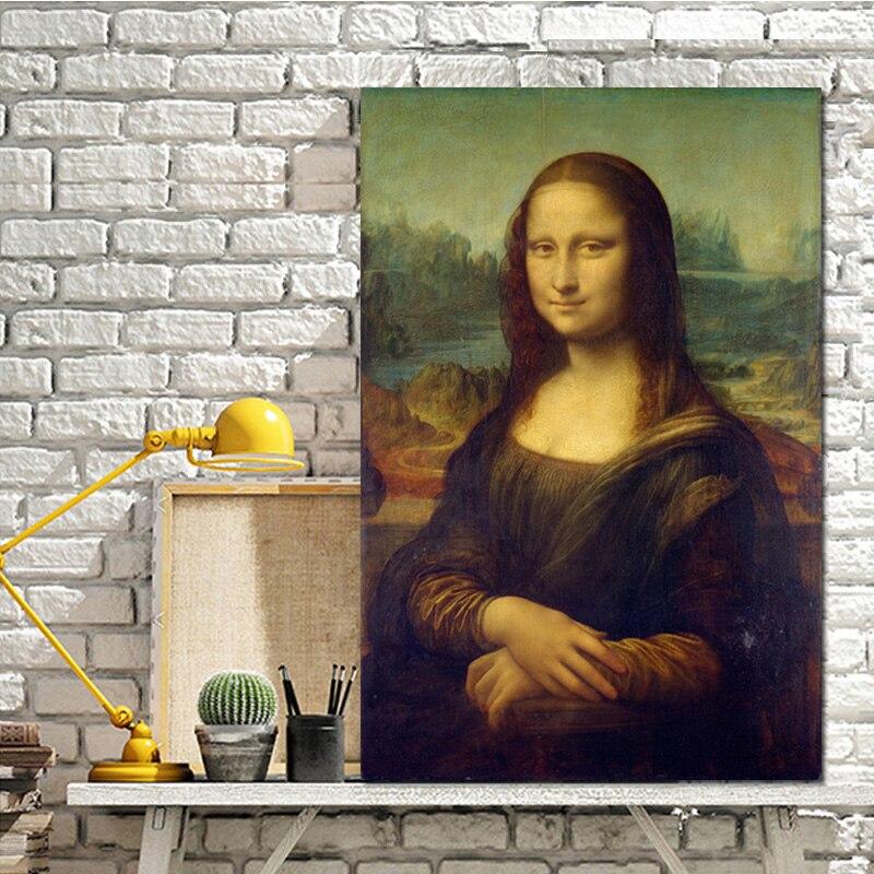 Pintura al óleo famosa de la reproducción de la Mona Lisa de Leonardo da Kini en carteles de Arte de lienzo e impresiones de la imagen de la pared para la vida habitación Arte clásico reproducción artista Magritte el beso carteles e impresiones lienzo arte pintura cuadros de pared para la decoración del hogar