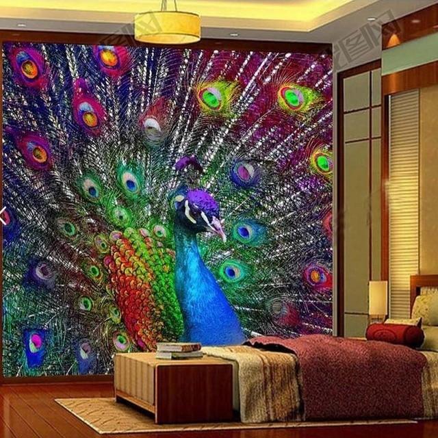 3D Bunte Pfau Offenen Bildschirm Foto Tapeten Wandbilder Für Wohnzimmer  BedroomWall Decor Malerei Moderne Abstrakte Kunst