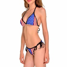 NEW 0199 Sexy Girl Summer America USA Flag 3D Prints Thongs Bikini Set Swimsuit Swimwear Women