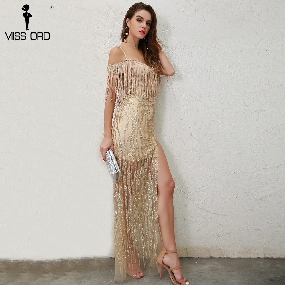 missord 2018 sexy off shoulder tassel high split glitter