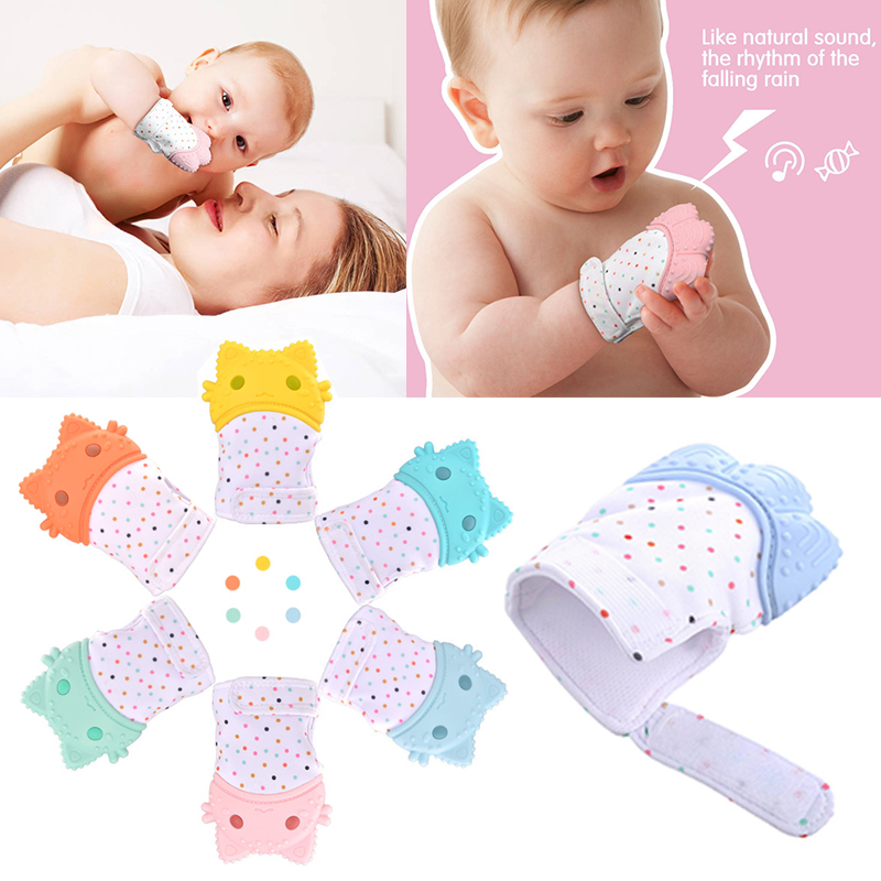 New Baby Silicone Teether Gloves Candy Color Sound Teethers Toy Nursing Mittens Sucking Fingers Teething Toy Baby Bpa Free Items