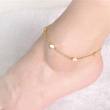 2286682b2a82 Oro joyería de pie cadena tobillera corazón amor pulsera de diseño para las  mujeres de verano