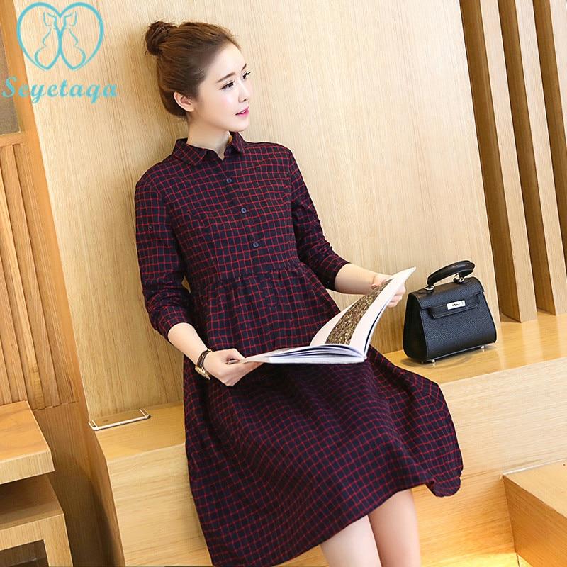 9605# 2018 Autumn Korean Fashion Maternity Long Dress Plaid Cotton A Line Blouse Dress Clothes for Pregnant Women Slim Pregnancy