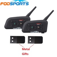2pcs Lot V6 1200m Bluetooth Intercom For Motorcycle Bluetooth Helmet Headset Intercomunicador Moto 6 Riders BT