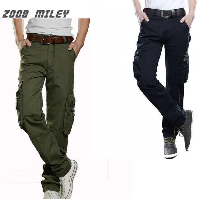 ZOOB MILEY Plus Size Men's Cargo Pants Casual Trousers Multi Pocket Overalls Loose Fit 100%Cotton Not Include the Belt