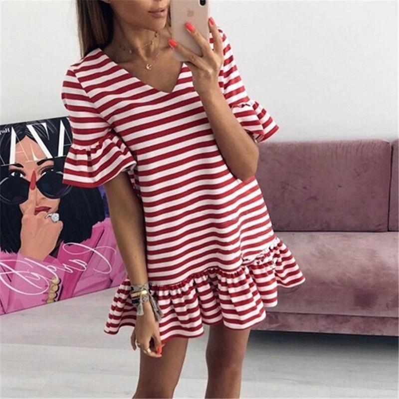 Heißer Verkauf Frauen Rüschen v-ausschnitt Sommer Kleider Gestreiften Lotus Blatt Kurze Mini Kleid Strand Beiläufige Kurz Hülse Kleid Weibliche vestidos