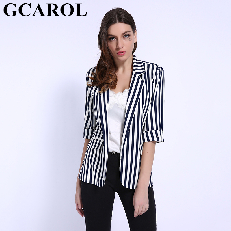 GCAROL 2019 Spring Summer Notched Collar OL Work Suits Blue Striped Women Blazer Half Sleeve 2 Pockets Perfect Basics Outwear